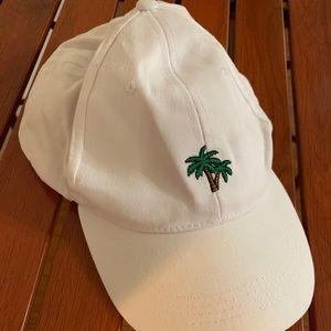 White palm tree strap back dad hat